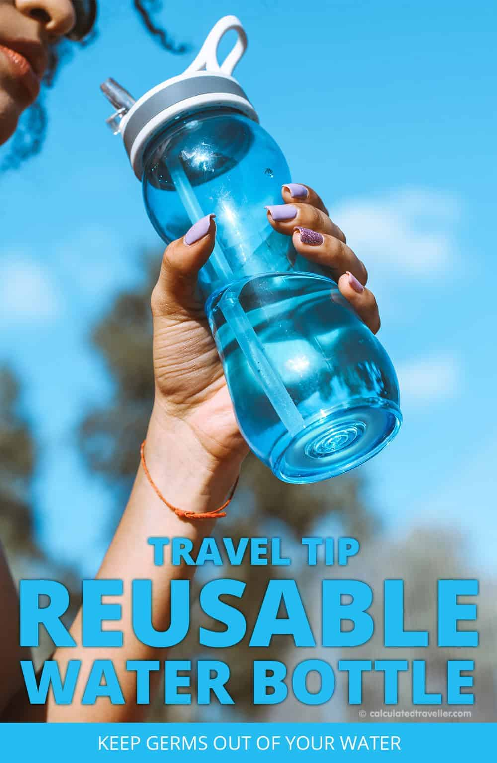 Travel Tip - Reusable Water Bottle - Would you like some germs with your water? Stay healthy when on the run.