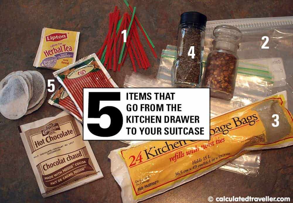 travel supplies from kitchen to suitcase