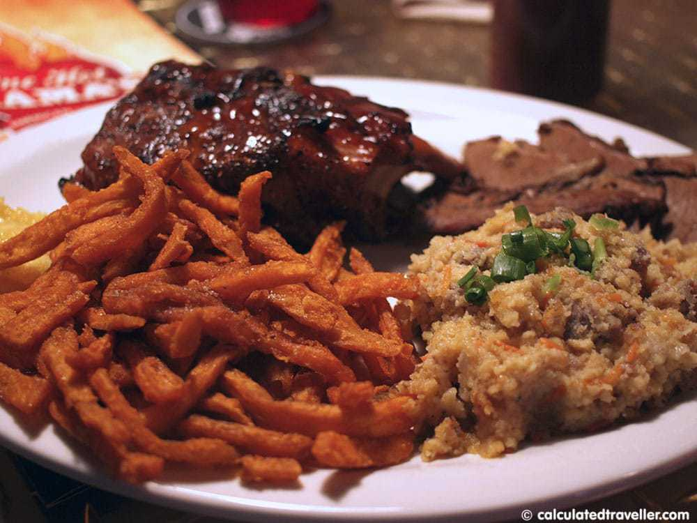 ribs brisket cornbread and sausage stuffing one hot mama's american grille