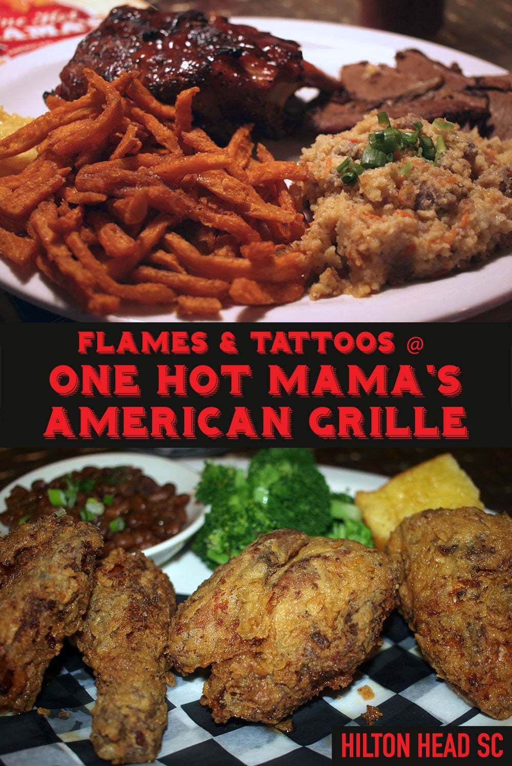 It's Flames and Tattoos at One Hot Mama's American Grille in Hilton Head Island South Carolina