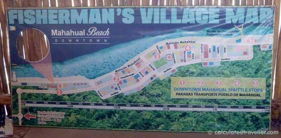 3 very different adventures in Mahahual, Costa Maya, Mexico - Mahahual Fisherman's Village Map