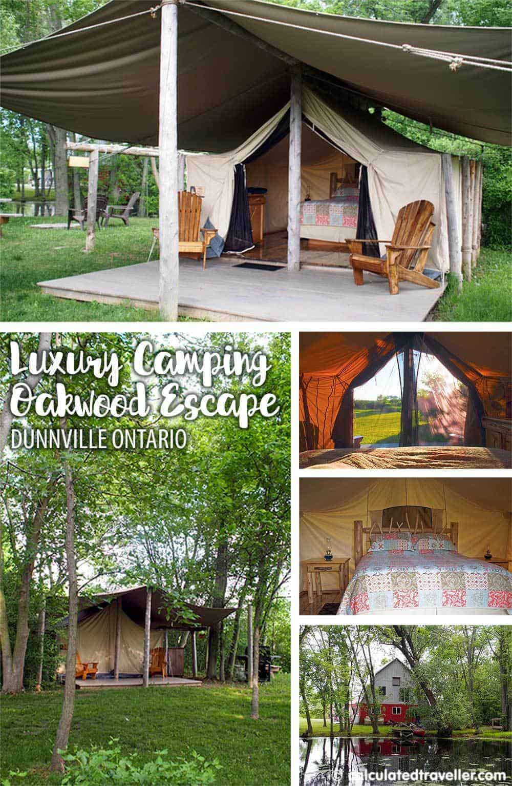 Luxury Camping Moments at Oakwood Escape, Dunnville ON. One night spent in a canvas prospector style tent glamping by Calculated Traveller.