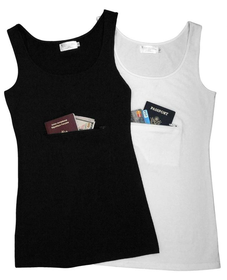 Clever Travel Companion Pickpocket Proof Tank Top with pockets