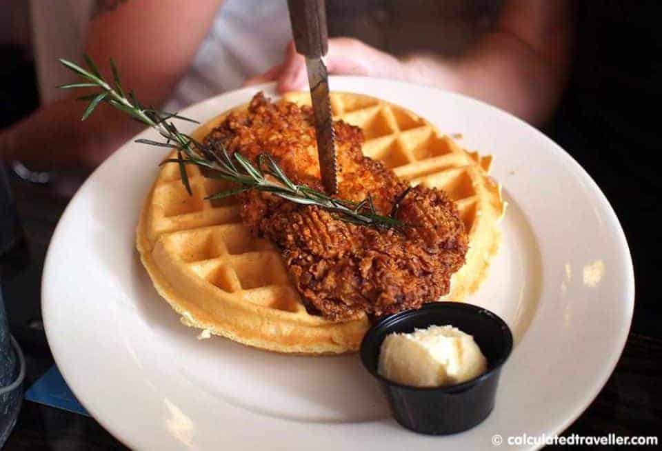 """A Bloody Blue Big Al Breakfast at Bay Local Eatery Virginia Beach - Fried Chicken and Waffles"
