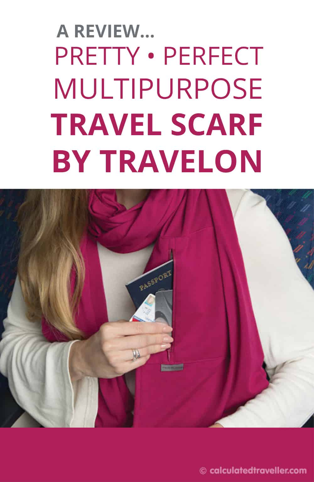 A Pretty Perfect Multipurpose Travel Scarf by Travelon. A review by Calculated Traveller Magazine  |  #Review #Travelon #travel #scarf #RFID #security #packing