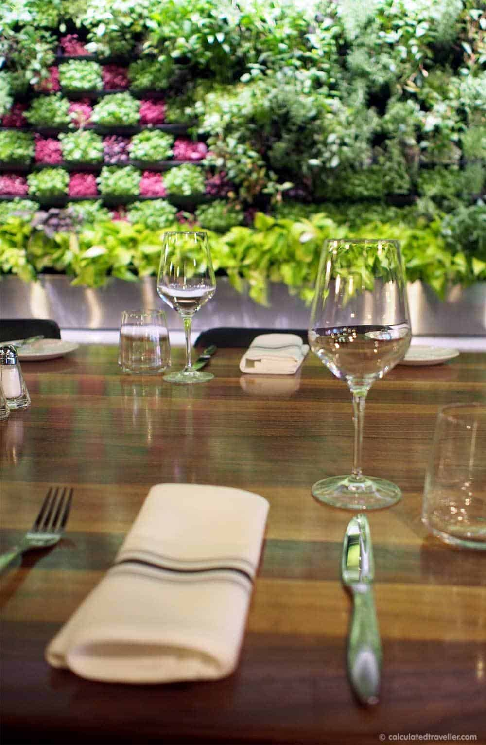 Upscale Grill Maggie Oakes in Old Montreal Quebec. The micro-green wall is beautiful and practical  |  #Montreal #Quebec #Canada #restaurant #review