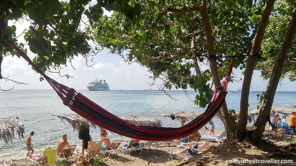 A Relaxing Day with the Black Sands of Shipwreck Beach St. Kitts - Hammock with view of the cruise ship