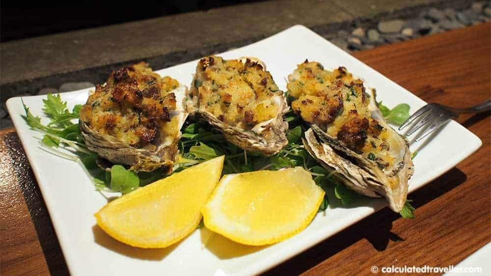 Graft Wine and Cider Bar, Watkins Glen New York Blue Point Oysters baked with bacon, shallots and cream