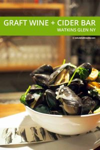 Graft Wine and Cider Bar, Watkins Glen New York Steamed Mussels with coconut milk broth, sweet onions, fresh ginger, local garlic and tatsoi | #travel #NewYork #FingerLakes #WatkinsGlen #restaurant #wine #bar #cider