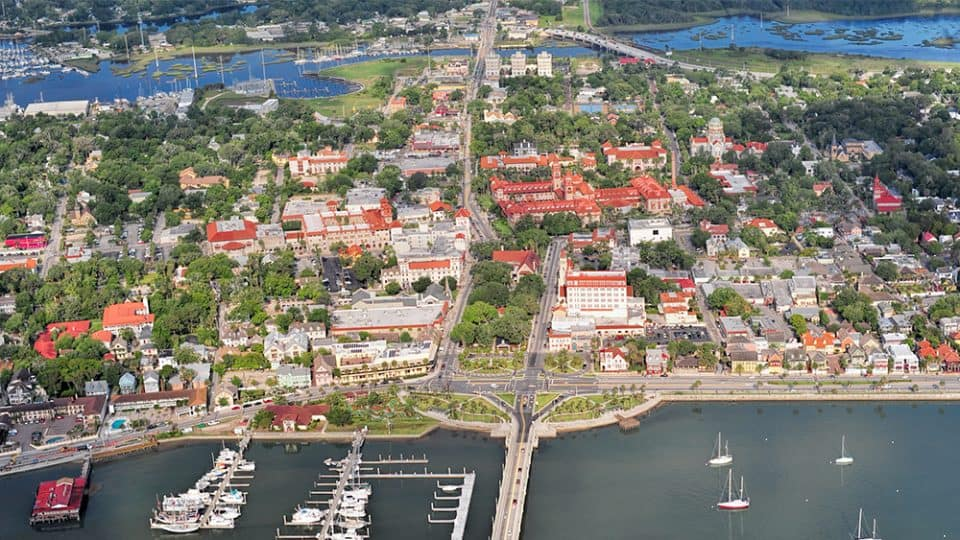 A Taste of St. Augustine Florida in Search of Spirits and Chocolate - Aerial photo of the city