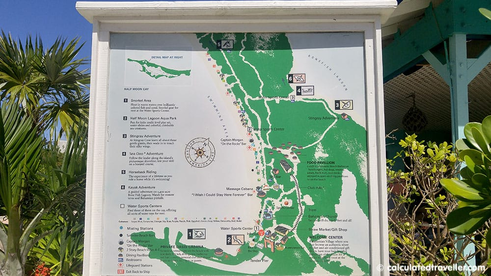 Holland America Line Half Moon Cay Private Island Escape - Map of the island and facilities