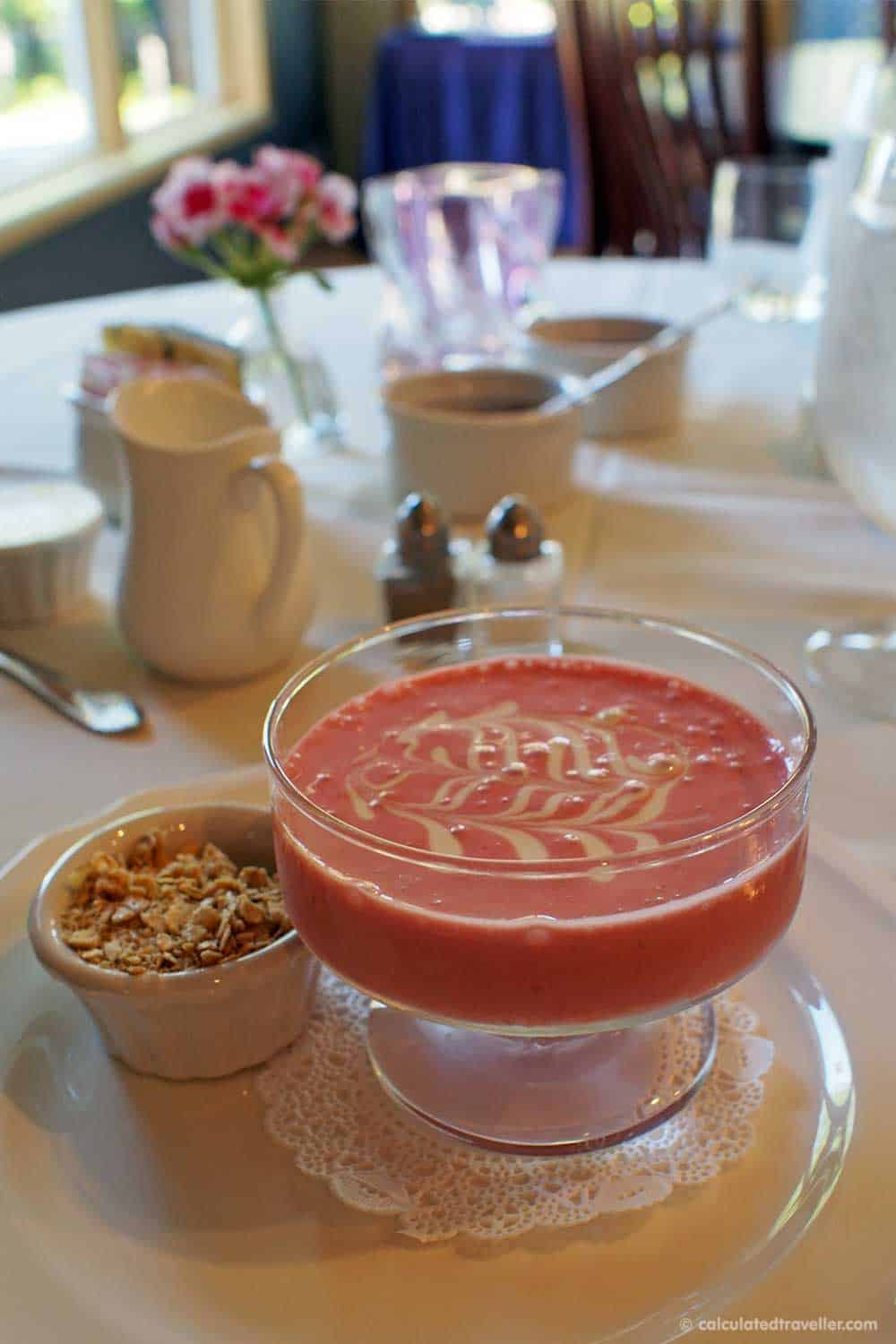 Relaxing Elegance at River Spring Lodge Darien Center New York - Chilled Strawberry Soup