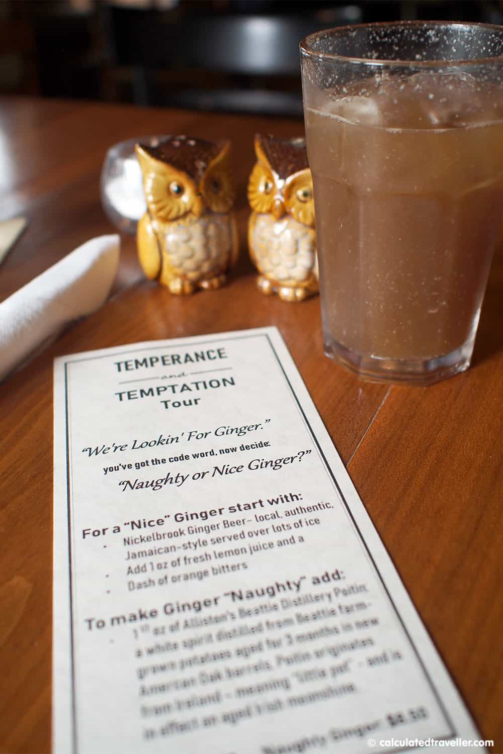 "Temperance and Temptations Tour: The Headwaters Story of Prohibition in Ontario - Terra Nova Pub ""Nice"" Ginger Cocktail"