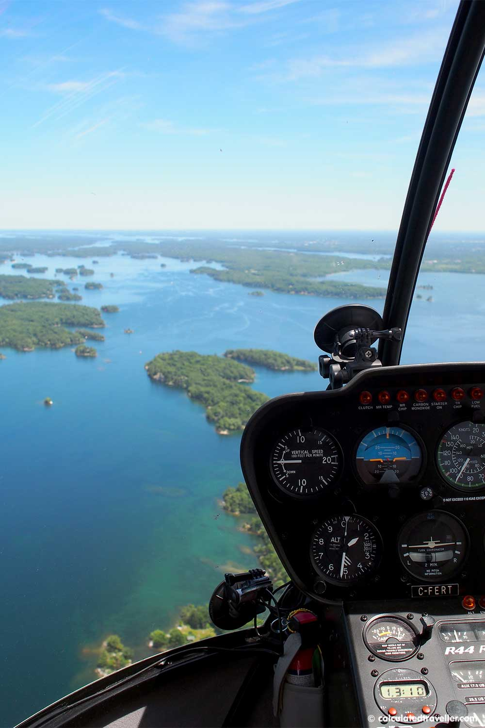 A Travel Guide to Gananoque and the Thousand Islands Ontario, Canada - Helicopter over the 1000 islands