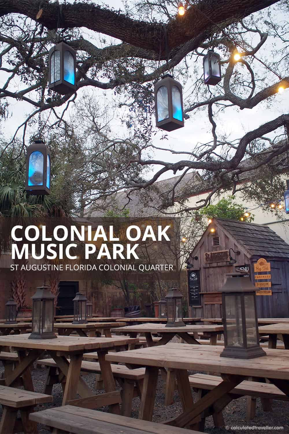 A Traveller's Guide to St Augustine Florida - History and Fun. Colonial Oak Music Park in Old Town St Augustine Florida is the place to go for free music and entertainment.