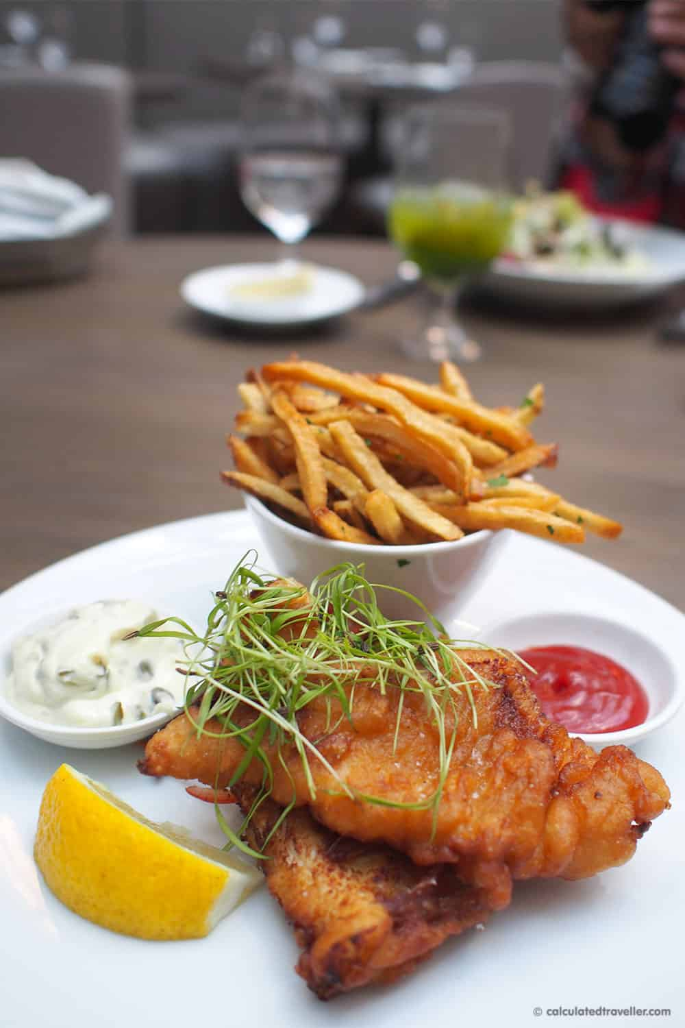Exploring the Village of Yorkville Toronto. A Day of Food, Architecture and History - Sassafraz Restaurant Fogo Island Cod n Chips (with a ginger beer batter) caper remoulade and coleslaw