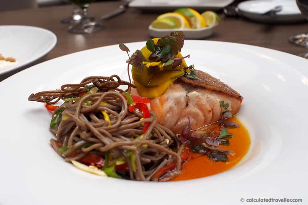 Exploring the Village of Yorkville Toronto. A Day of Food, Architecture and History. Sassafraz Restaurant Cape d'Or Salmon with chilled soba noodles