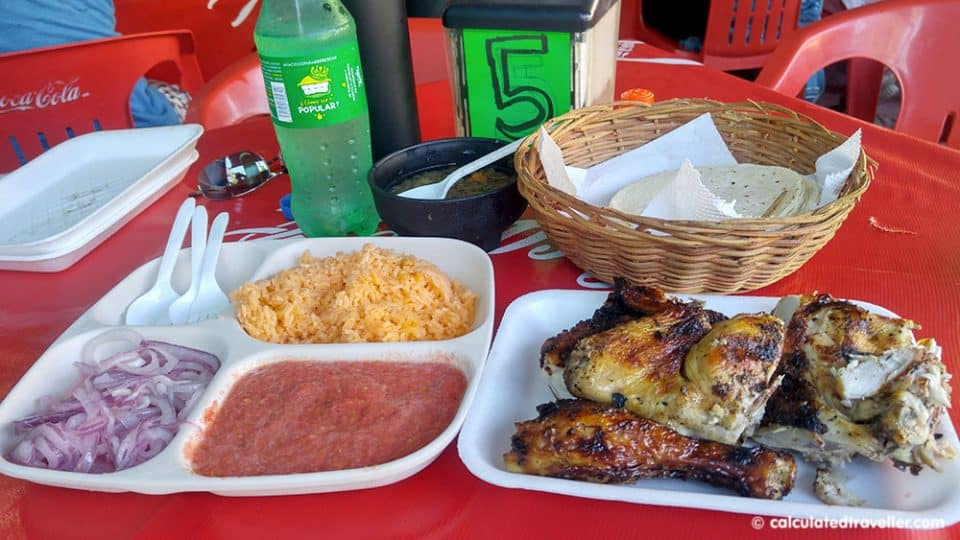 Half-chicken dinner at Asadero el Pollo in Playa del Carmen Mexico