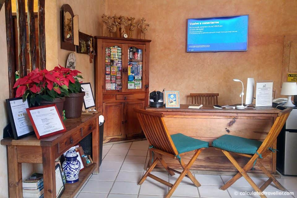 Front desk area at Hotel Barrio Latino.