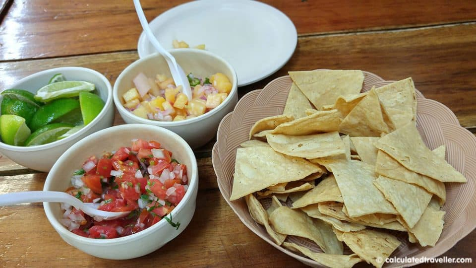 Playa del Carmen Restaurants on a Budget - fresh tortilla chips and salsa from Don Sirloin