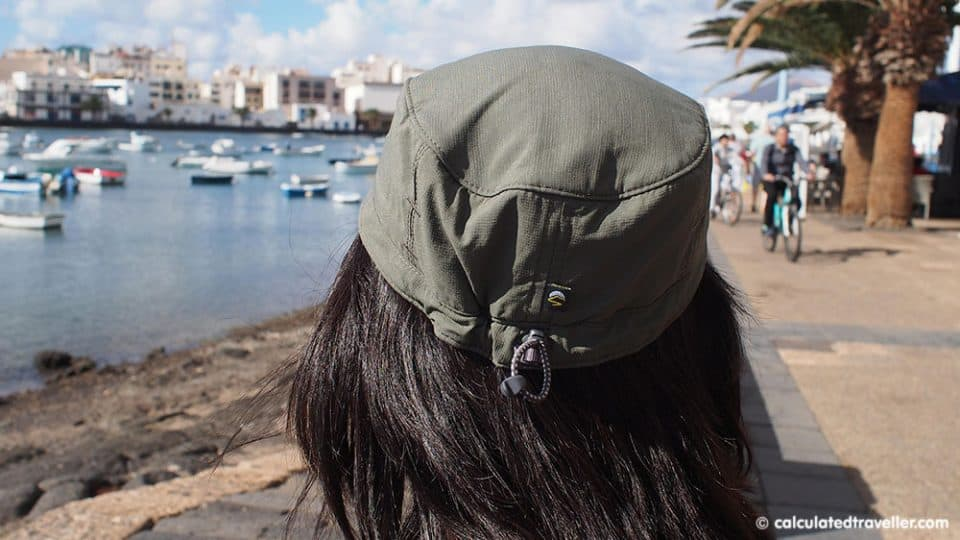 Calculated Traveller Mary wearing her Sunday Afternoons Sun Tripper Cap in the Canary Islands