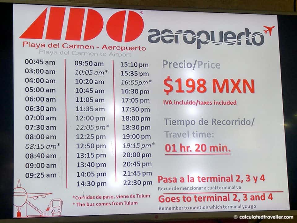 ADO Airport bus schedule from Playa del Carmen to Cancun