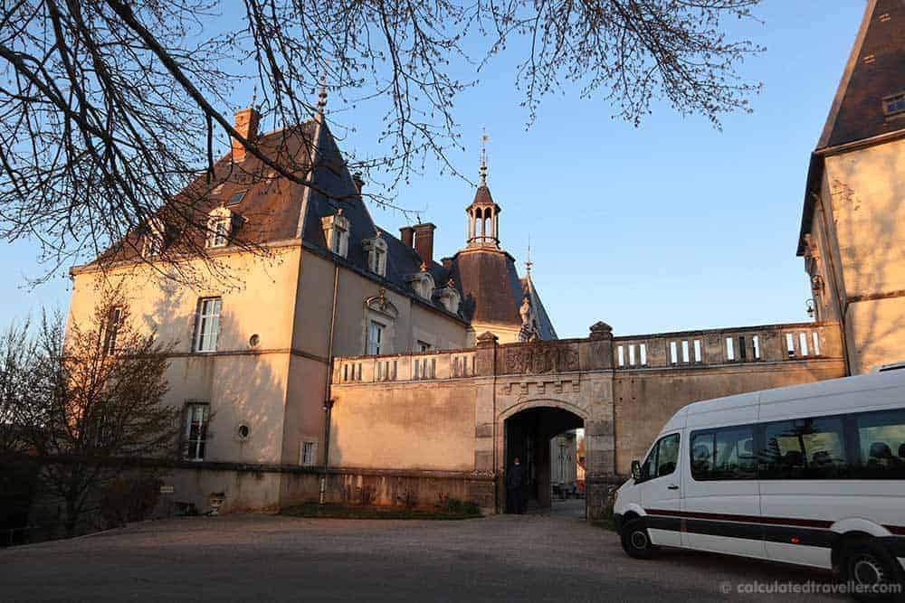 Savoir Vivre Van parked at Chateau Sainte Sabine France
