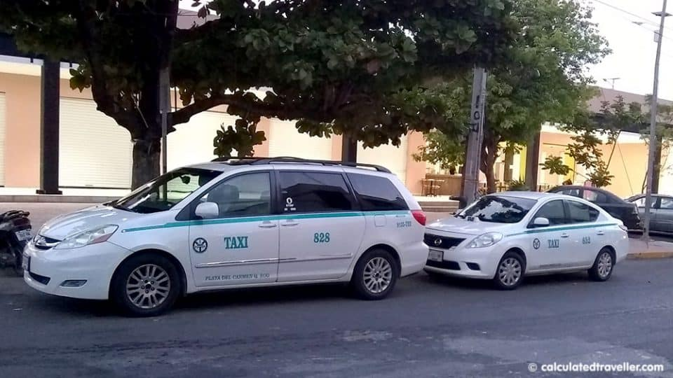 Taxi cabs in Playa del Carmen