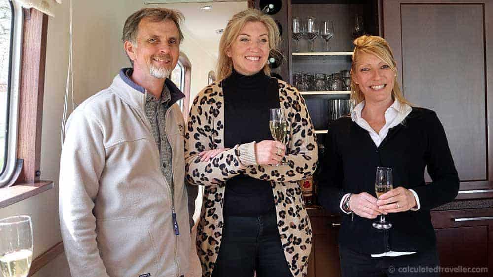 Savoir Vivre Barge Team of 3; Captain Richard, Tour Guide Laura and Hostess Sophie