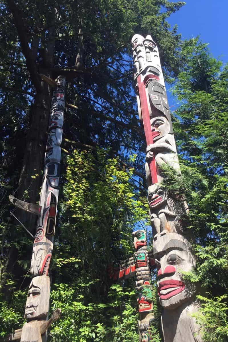 colourful totem poles in totem park
