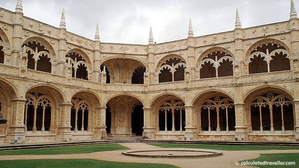 Jeronimos Monastery inner courtyard Belem Portugal