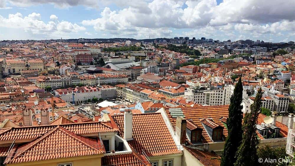 View of Lisbon Portugal from St Georges Castle