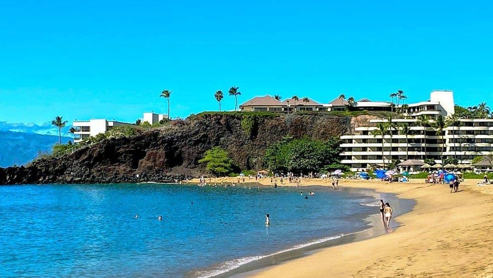 Black rocks at Kaanapali Beach Maui