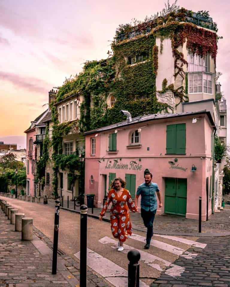 Candid photo of couple walking in France