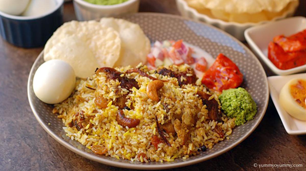 Thalassery Biryani 由 Kaima 大米而不是 Basmati 製成。在印度喀拉拉邦吃的獨特菜餚。